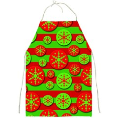 Snowflake red and green pattern Full Print Aprons