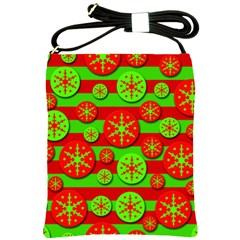 Snowflake red and green pattern Shoulder Sling Bags