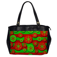 Snowflake red and green pattern Office Handbags