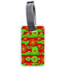 Snowflake red and green pattern Luggage Tags (One Side)