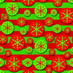 Snowflake red and green pattern Magic Photo Cubes