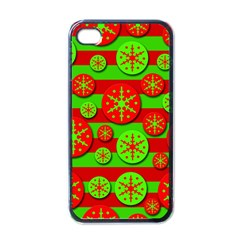Snowflake red and green pattern Apple iPhone 4 Case (Black)