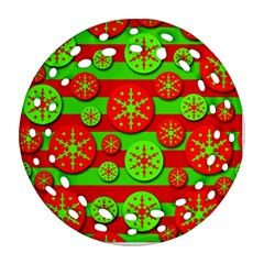 Snowflake red and green pattern Ornament (Round Filigree)