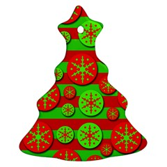 Snowflake red and green pattern Christmas Tree Ornament (2 Sides)