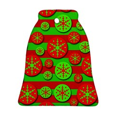 Snowflake red and green pattern Bell Ornament (2 Sides)