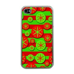 Snowflake red and green pattern Apple iPhone 4 Case (Clear)