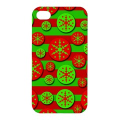 Snowflake red and green pattern Apple iPhone 4/4S Hardshell Case