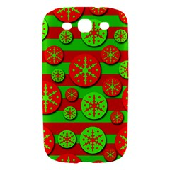 Snowflake red and green pattern Samsung Galaxy S III Hardshell Case