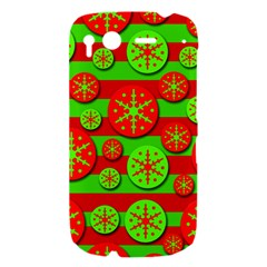 Snowflake red and green pattern HTC Desire S Hardshell Case