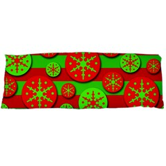 Snowflake red and green pattern Body Pillow Case Dakimakura (Two Sides)