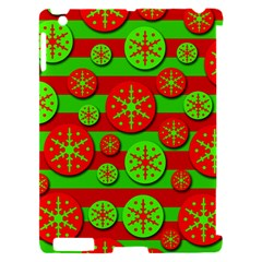 Snowflake red and green pattern Apple iPad 2 Hardshell Case (Compatible with Smart Cover)