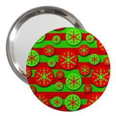 Snowflake red and green pattern 3  Handbag Mirrors