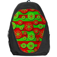 Snowflake red and green pattern Backpack Bag