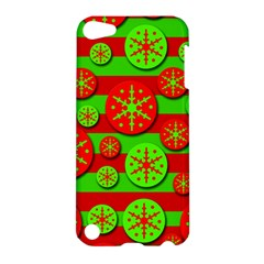 Snowflake red and green pattern Apple iPod Touch 5 Hardshell Case