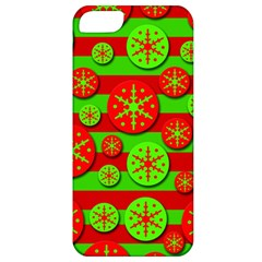Snowflake red and green pattern Apple iPhone 5 Classic Hardshell Case