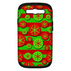 Snowflake red and green pattern Samsung Galaxy S III Hardshell Case (PC+Silicone)