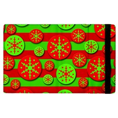 Snowflake red and green pattern Apple iPad 3/4 Flip Case