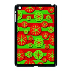 Snowflake red and green pattern Apple iPad Mini Case (Black)