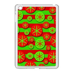 Snowflake red and green pattern Apple iPad Mini Case (White)