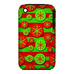 Snowflake red and green pattern Apple iPhone 3G/3GS Hardshell Case (PC+Silicone)