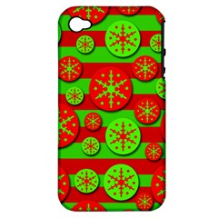 Snowflake red and green pattern Apple iPhone 4/4S Hardshell Case (PC+Silicone)