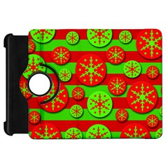 Snowflake red and green pattern Kindle Fire HD Flip 360 Case