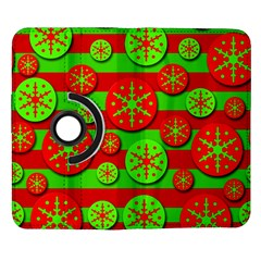 Snowflake red and green pattern Samsung Galaxy Note II Flip 360 Case