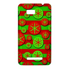 Snowflake red and green pattern HTC One SU T528W Hardshell Case