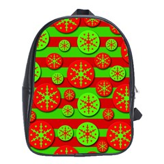 Snowflake red and green pattern School Bags (XL)