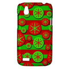 Snowflake red and green pattern HTC Desire V (T328W) Hardshell Case