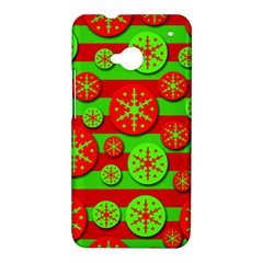 Snowflake red and green pattern HTC One M7 Hardshell Case