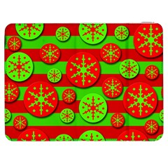 Snowflake red and green pattern Samsung Galaxy Tab 7  P1000 Flip Case