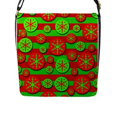 Snowflake red and green pattern Flap Messenger Bag (L)