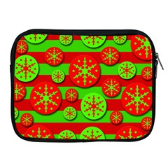 Snowflake red and green pattern Apple iPad 2/3/4 Zipper Cases