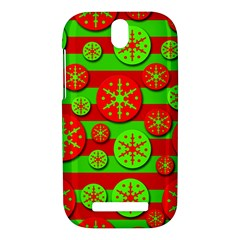 Snowflake red and green pattern HTC One SV Hardshell Case