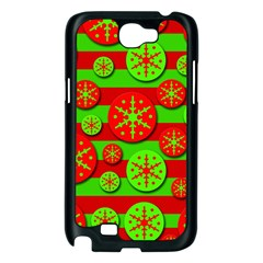 Snowflake red and green pattern Samsung Galaxy Note 2 Case (Black)