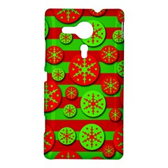Snowflake red and green pattern Sony Xperia SP