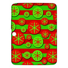 Snowflake red and green pattern Samsung Galaxy Tab 3 (10.1 ) P5200 Hardshell Case