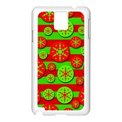 Snowflake red and green pattern Samsung Galaxy Note 3 N9005 Case (White)