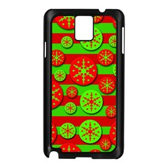 Snowflake red and green pattern Samsung Galaxy Note 3 N9005 Case (Black)