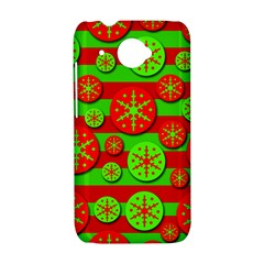 Snowflake red and green pattern HTC Desire 601 Hardshell Case