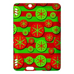 Snowflake red and green pattern Kindle Fire HDX Hardshell Case