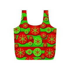 Snowflake red and green pattern Full Print Recycle Bags (S)