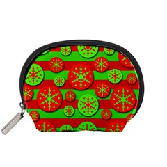 Snowflake red and green pattern Accessory Pouches (Small)