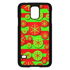 Snowflake red and green pattern Samsung Galaxy S5 Case (Black)