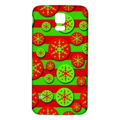 Snowflake red and green pattern Samsung Galaxy S5 Back Case (White)