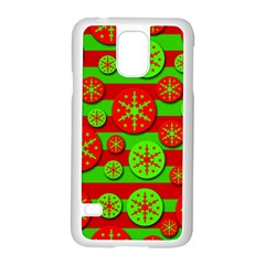 Snowflake red and green pattern Samsung Galaxy S5 Case (White)