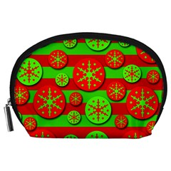 Snowflake red and green pattern Accessory Pouches (Large)