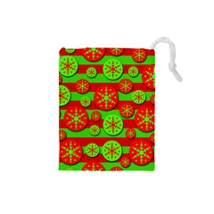 Snowflake red and green pattern Drawstring Pouches (Small)
