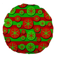 Snowflake red and green pattern Large 18  Premium Flano Round Cushions